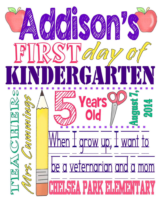 Snazzy Kindergarten Sign Template Kindergarten Sign 2017 Day Back To School Digital School School Photo Any Pencil Sign Day Day Back To School Digital Download Day art First Day Of Kindergarten Sign