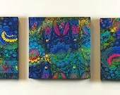 Batik fabric covered artist canvas triptych
