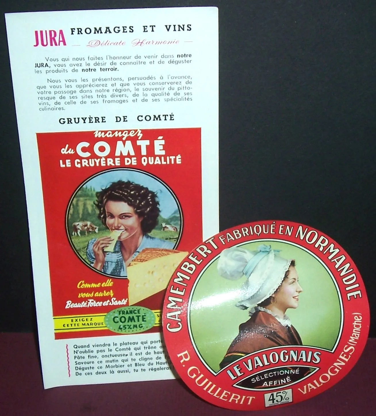 Brochure labels   Etsy 3 vintage French cheese items    ad slick  brochure  label
