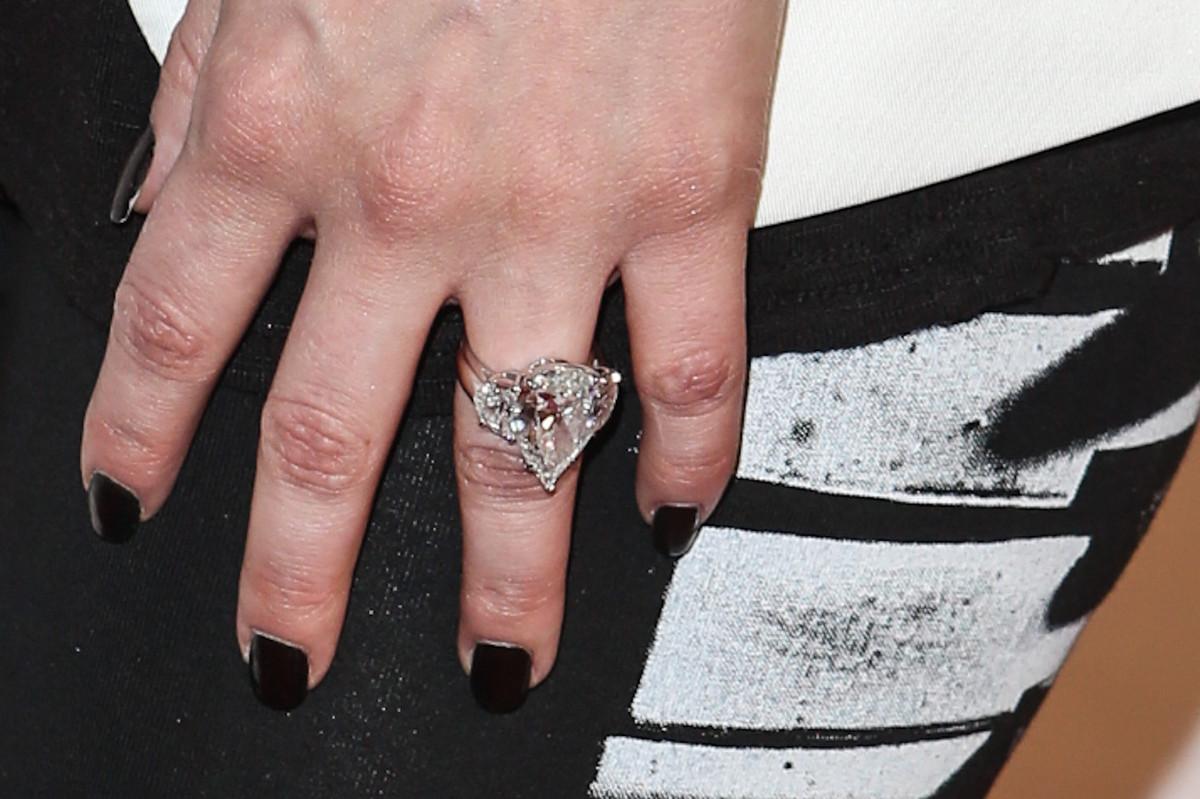 kim kardashian ring kanye west photos n wedding ring Kim Kardashian s Ring From Kanye Is Smaller Than Her Last One But By The Same Designer
