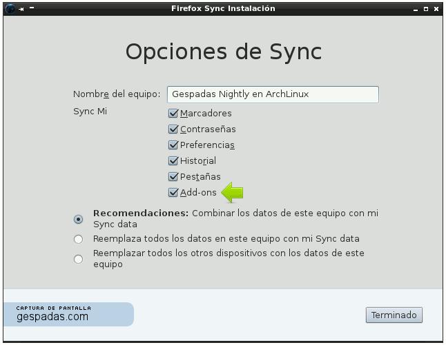 Sincronización de Complementos en Firefox 12