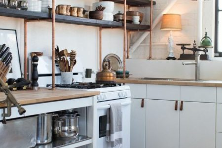 copper and wood open shelves are great additions to standard ikea kitchen cabinets 750x938