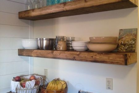 faux floating shelves is an easy diy solution for kitchen storage