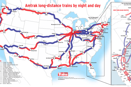usa map showing what parts of an amtrak route are