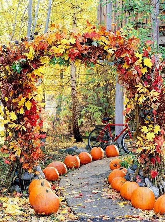 fall leaves wedding arch