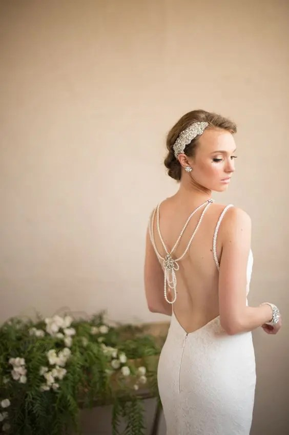 vintage pearl back wedding necklace