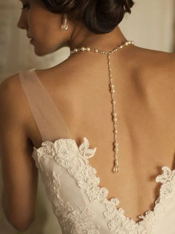 pearl and crystal wedding back necklace