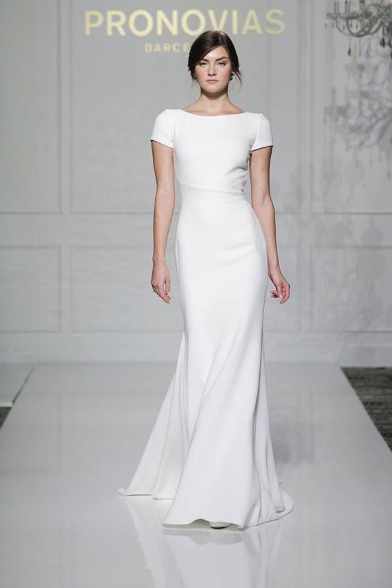 sheath short sleeve simple wedding dress for a minimalist bride