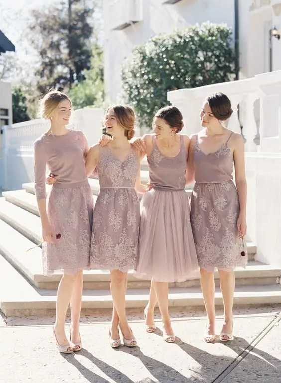 mix and match bridesmaids' separates in a soft blushy shade