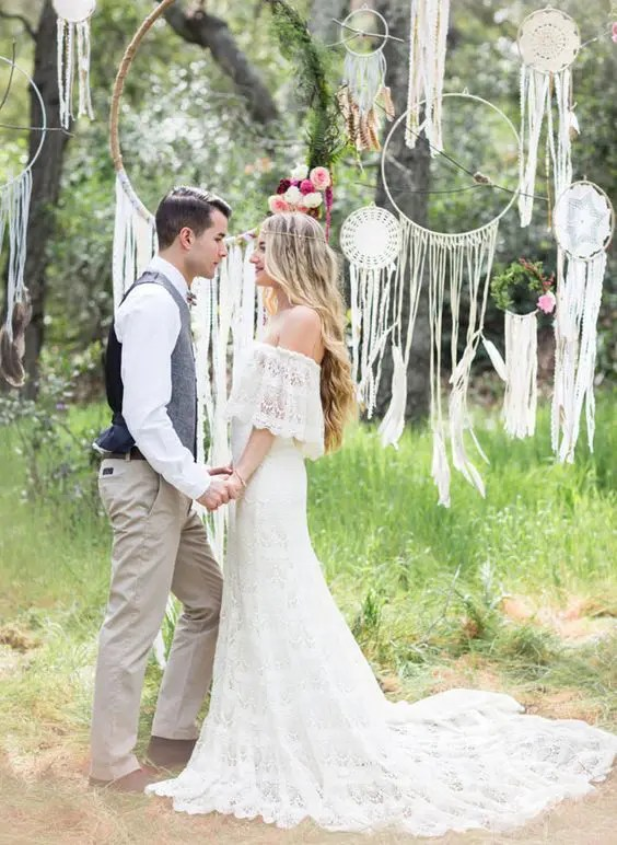 dream catchers and hangings as a wedding backdrop