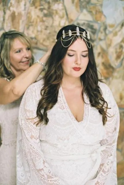 a boho geode bridal headpiece with chains is a chic accessory for a boho bride