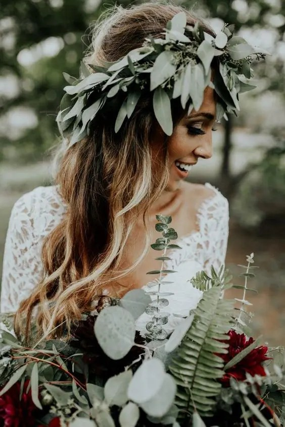 a seeded eucalyptus crown is ideal for a boho bride, if you don't feel like blooms