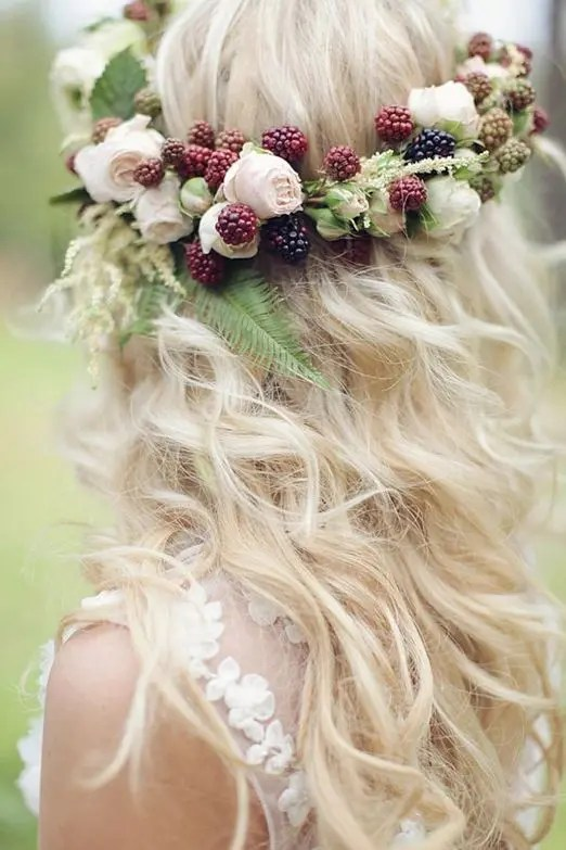 a blackberry and pale peach rose flower crown for a late summer boho bride