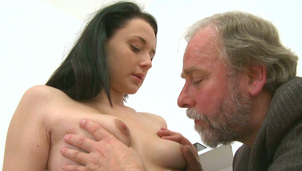 old man fondling shy girl