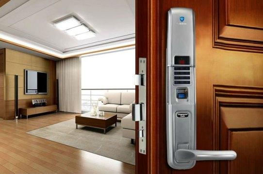 house with biometric fingerprint safe
