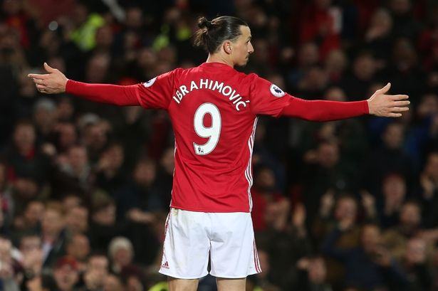 zlatan ibrahimovic of manchester united celebrates scoring their first goal during the premier league match between and everton at old