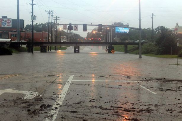 The Acadian Thruway, Louisiana is covered in floodwater