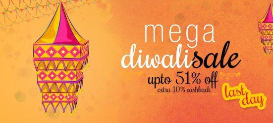mega diwali sale upto 51% off + extra 10% cashback