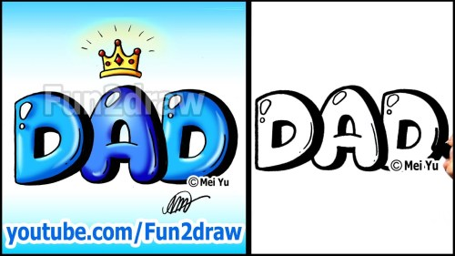 how to draw mom and dad in bubble letters