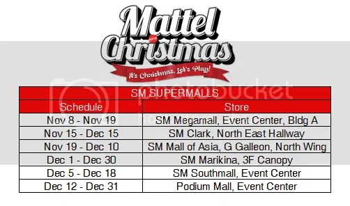 Mattel Christmas Mall Schedules
