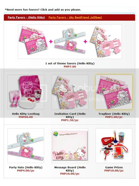 Jollibee Hello Kitty Party favors