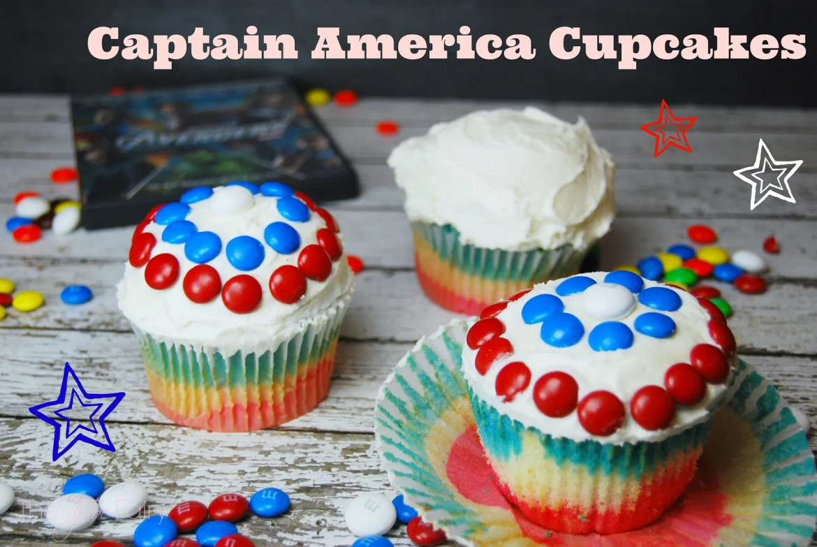 Captain America Cupcakes | The TipToe Fairy #HeroesEatMMs  #shop #cupcakes #captainamerica #superheroes