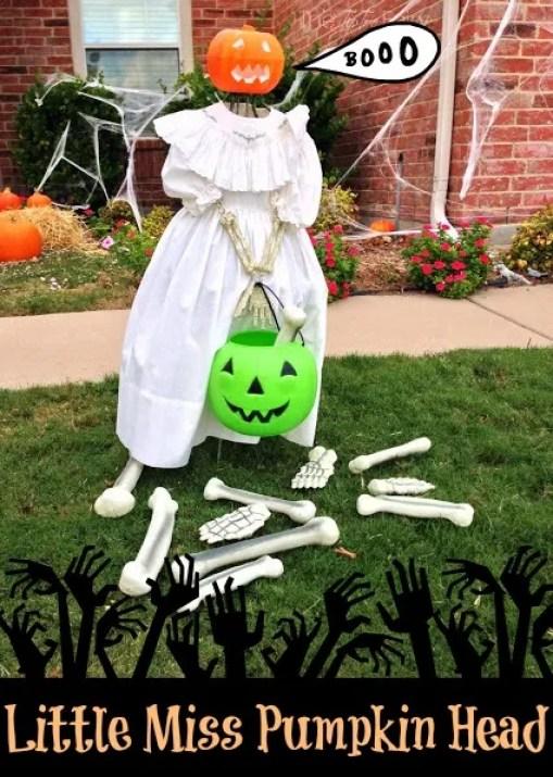 Easy Outdoor Halloween Decor: Little Miss Pumpkin Head | The TipToe Fairy -- An easy DIY outdoor Halloween decoration that will creep your neighbors out!  #halloween #halloweendecoration #halloweenoutdoordecorations