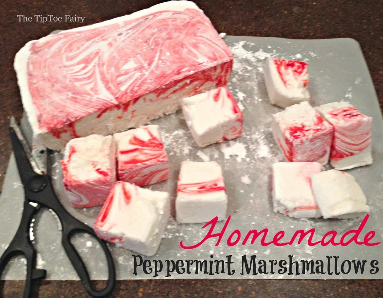 Homemade Peppermint Marshmallows | The TipToe Fairy