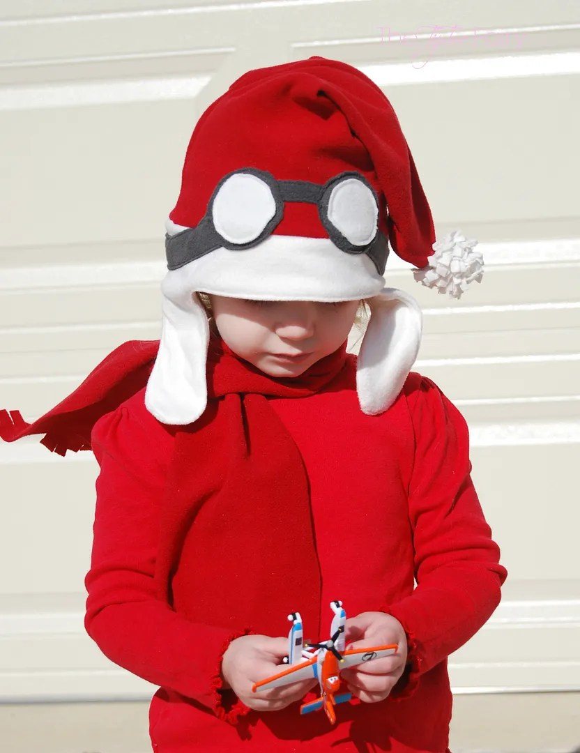 Santa Aviator Hat and matching scarf - easy sewing tutorial and your child will love dressing up as a pilot! #PlanesToTheRescue #Ad #tutorial