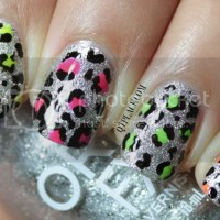 Glitter and neon leopard nail art