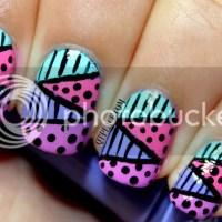 Zig zag nail art using striping tape