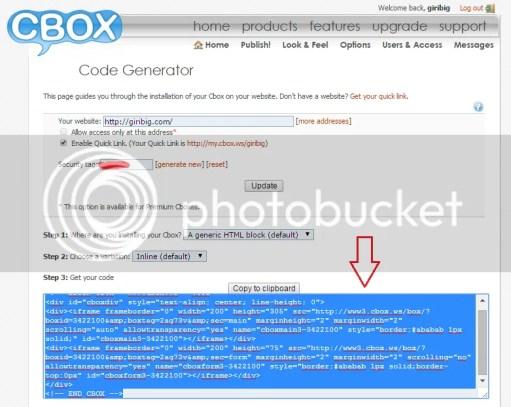 Cara membuat dan memasang Cbox di Blog