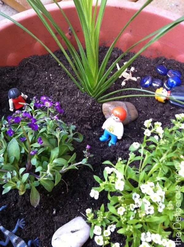 Playspaces for small backyards - a play (fairy) garden. http://thedeliberatemom.com