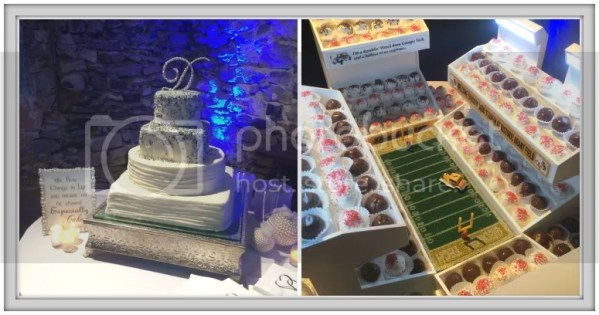 "The traditional cake, and the groom's ""cake"" for the wedding in Atlanta....a Georgia Tech stadium with truffles as spectators and an iPad Jumbo-tron!"