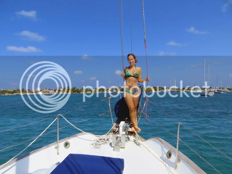 Dani in a bikini on the bow
