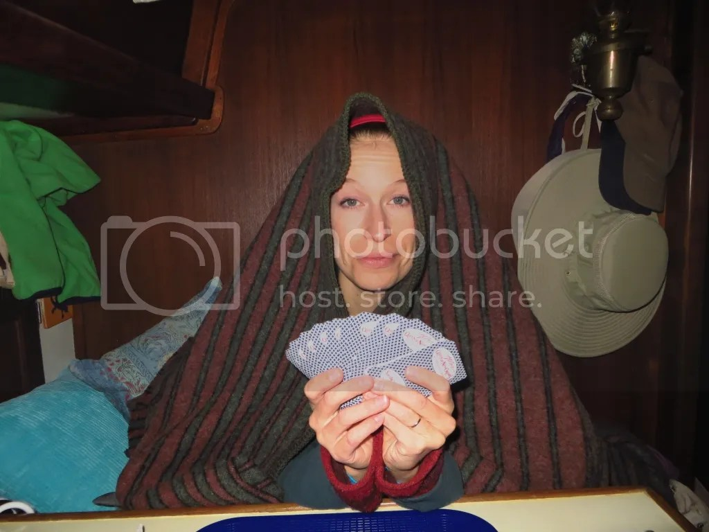 Dani playing cards with wool blanket