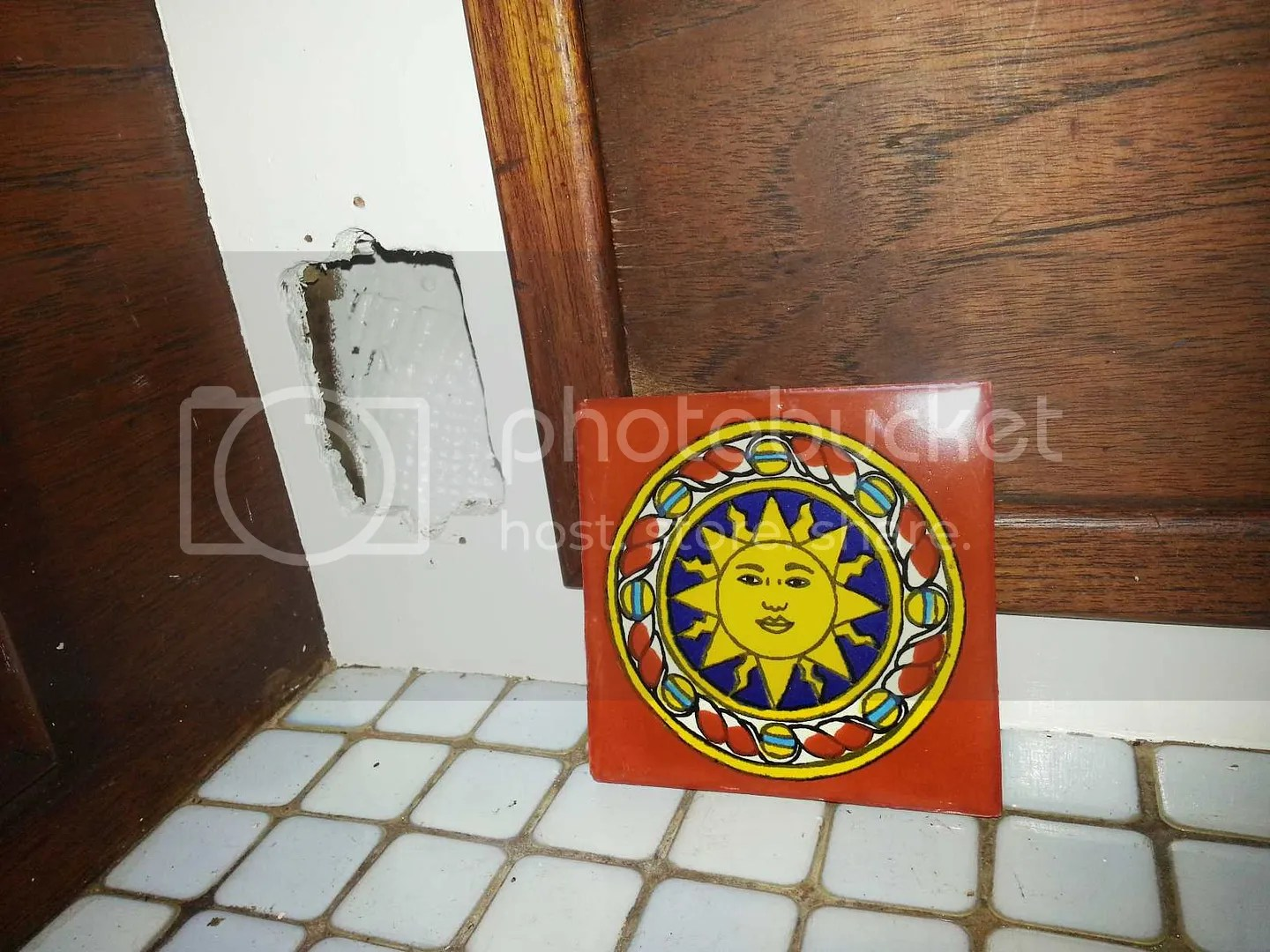 Sun painted tile art