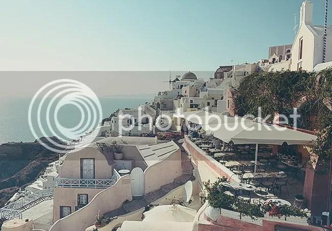 Restaurants and windmills in Oia, Santorini