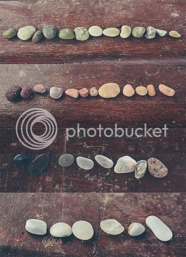 Colorful stones in Kamari Beach Santorini