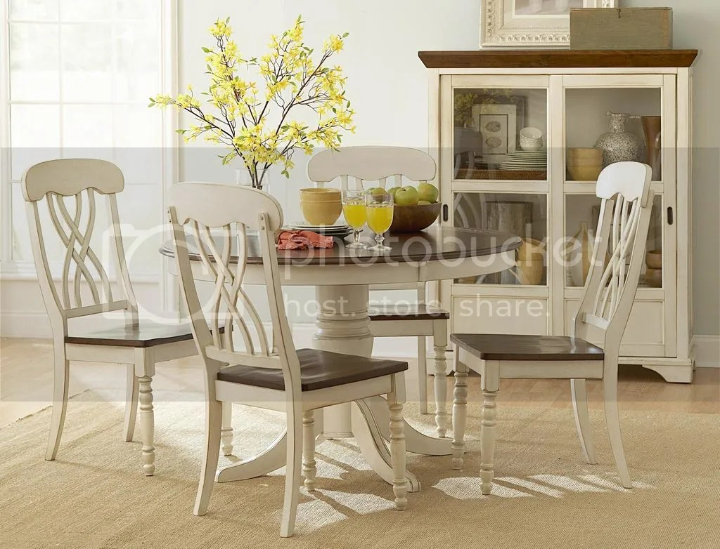 two tone kitchen table 5Pc Casual Two Tone Antique White Warm Cherry Solid Wood Round Dining Table Set photo W zpsa