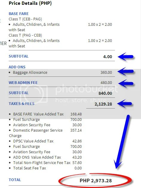total piso fare cost fee breakdown