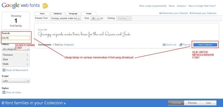 Pilih font google webfonts