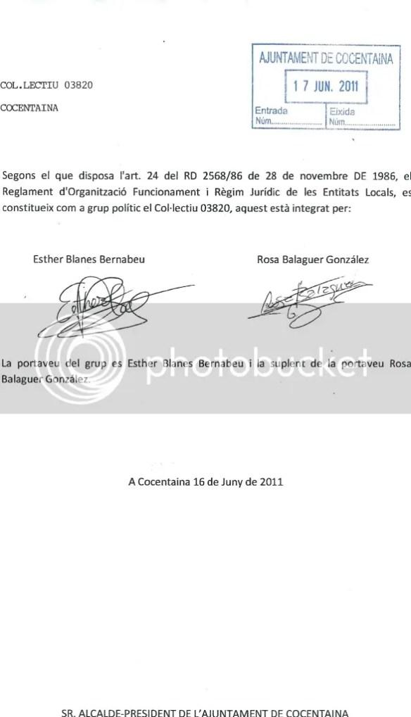 Document de constitució del grup municipal 'Col·lectiu 03820' a l'Ajuntament de Cocentaina