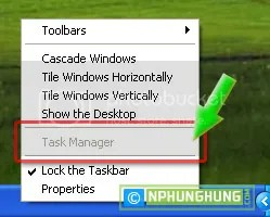 Can't select Task Manager