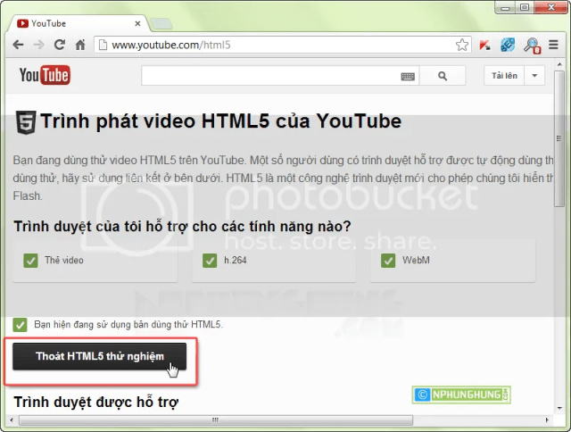 Turn off HTML5 test youtube
