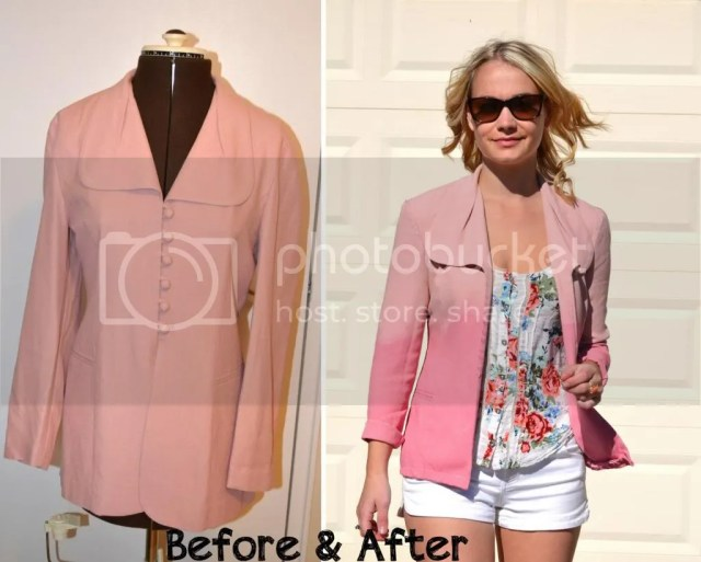 ombre, blazer, pink, garage, tank, flowers, shorts, white, marshalls, diy, craft, project, jacket,
