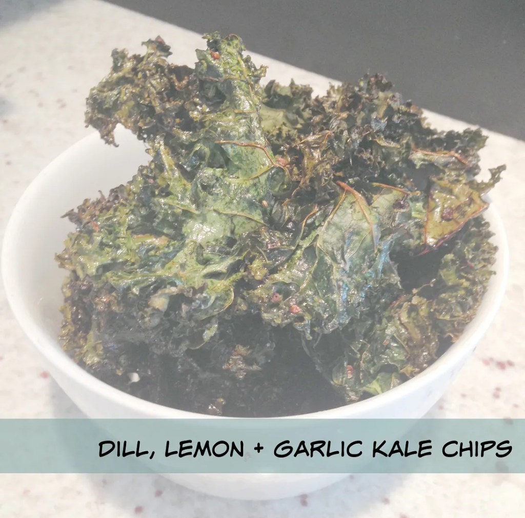 dill lemon and garlic kale chips recipe