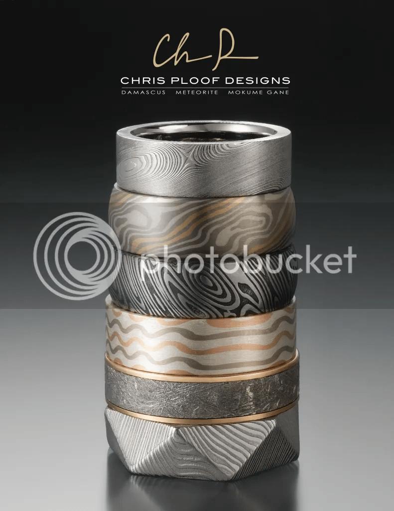 chrisploof damascus steel wedding bands Chris Ploof Designs Damascus Steel Meteorite Mokume Gane Wedding Bands