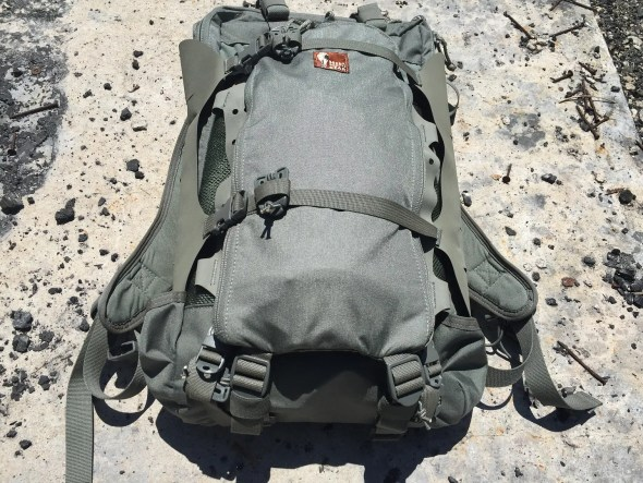 The Hill People Gear Aston Pocket mounted to the Connor Backpack