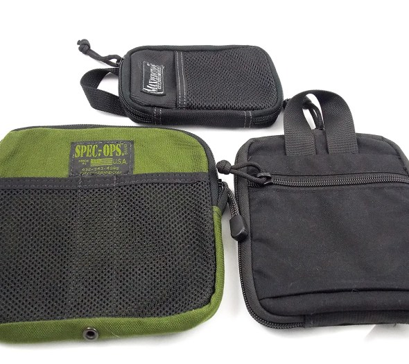 Clockwise from top, the Maxpedition Micro Organizer, THE-E Pocket Organizer and the Spec Ops Cargo Pocket Organizer